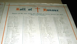 A hand written Roll of Honour detailing the men of Westgate who fought in the First World War
